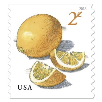 USA two cent stamps, a meyer lemon next to two lemon halfs cut open, reading USA in the lower left and 2¢ in the upper right in yellow font