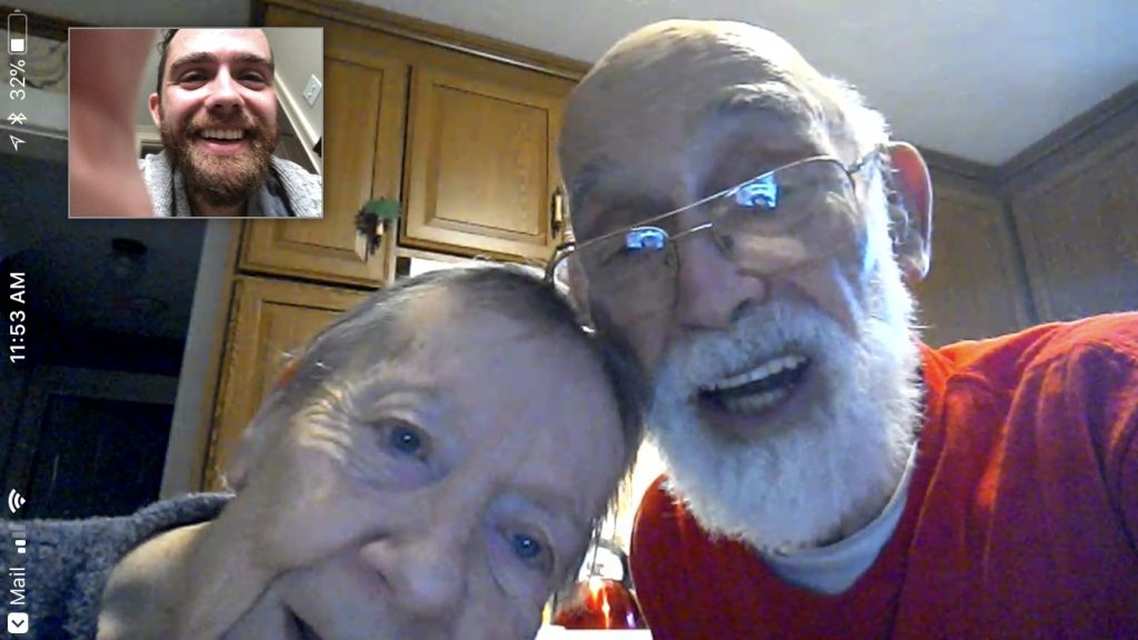 Grandma and Grandpa on a recent Alexa Show call with me.