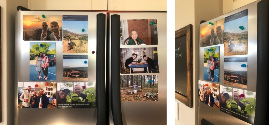 A refrigerator covered in 4x6 prints held with magnet pins.