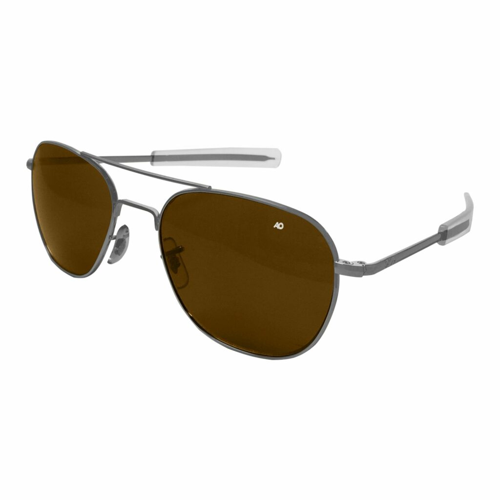 Silver aviator sunglasses with brown/tan shades.