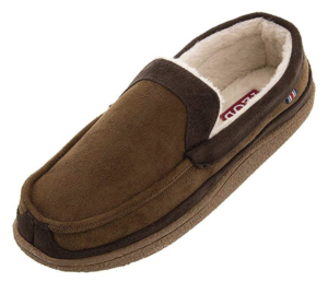 A brown moccasin-style men's slipper with a sherpa interior and rubber bottom.