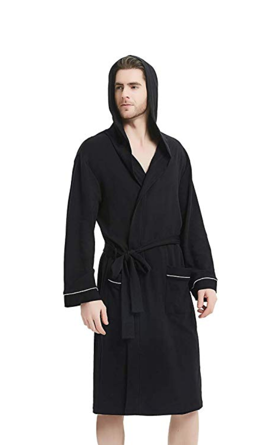 Man in a black bathrobe with a hood.