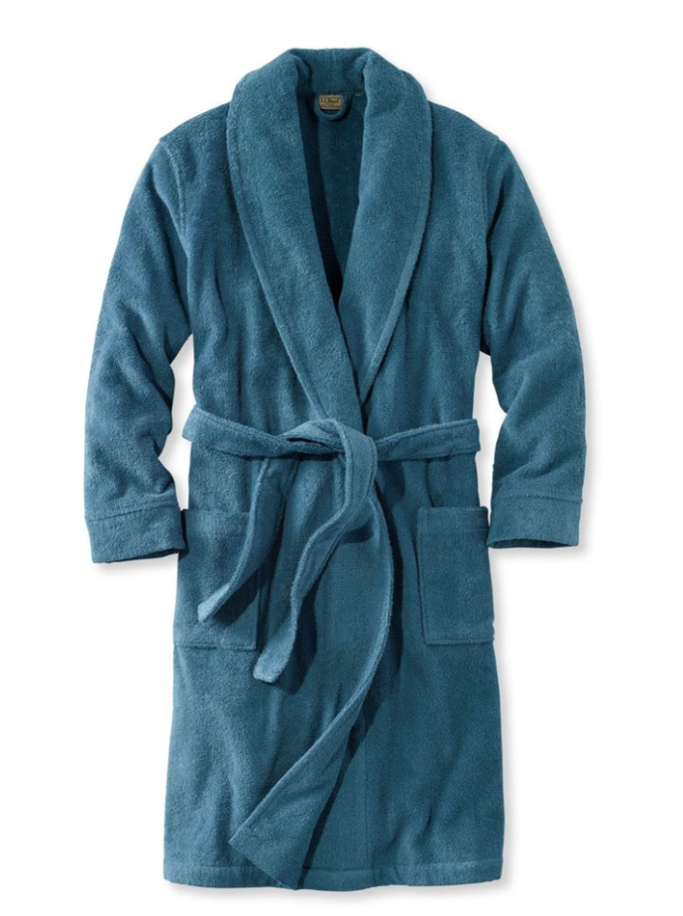 A luxurious royal blue men's bathrobe with pockets. So comfy.