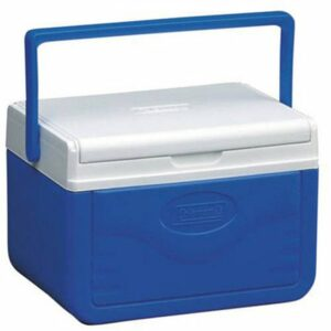 A blue cooler with a white lid and blue handle.