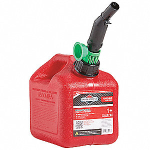 Red gas can with black nozzle and green protector.