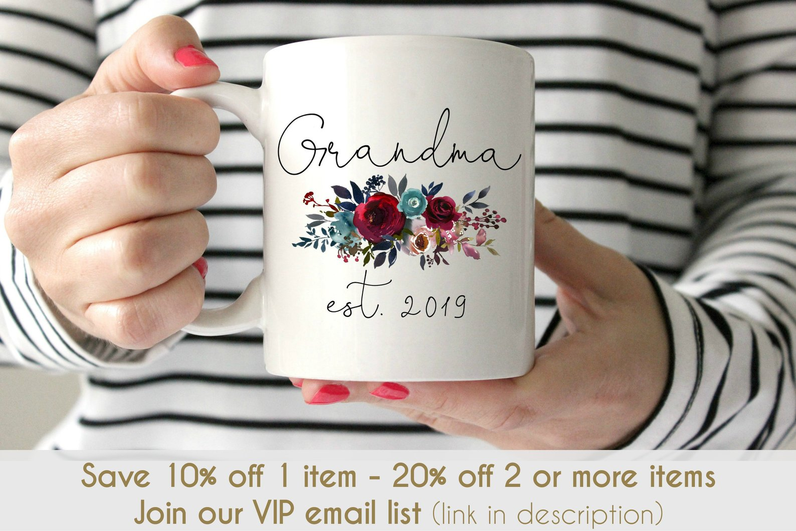 Coffee mug reading: Grandma, est 2019 with pretty flowers