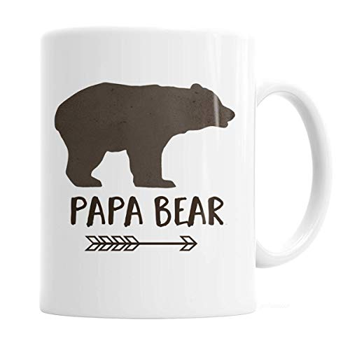 "White coffee mug with brown bear icon below it reading ""PAPA BEAR"" with an arrow-head type icon."