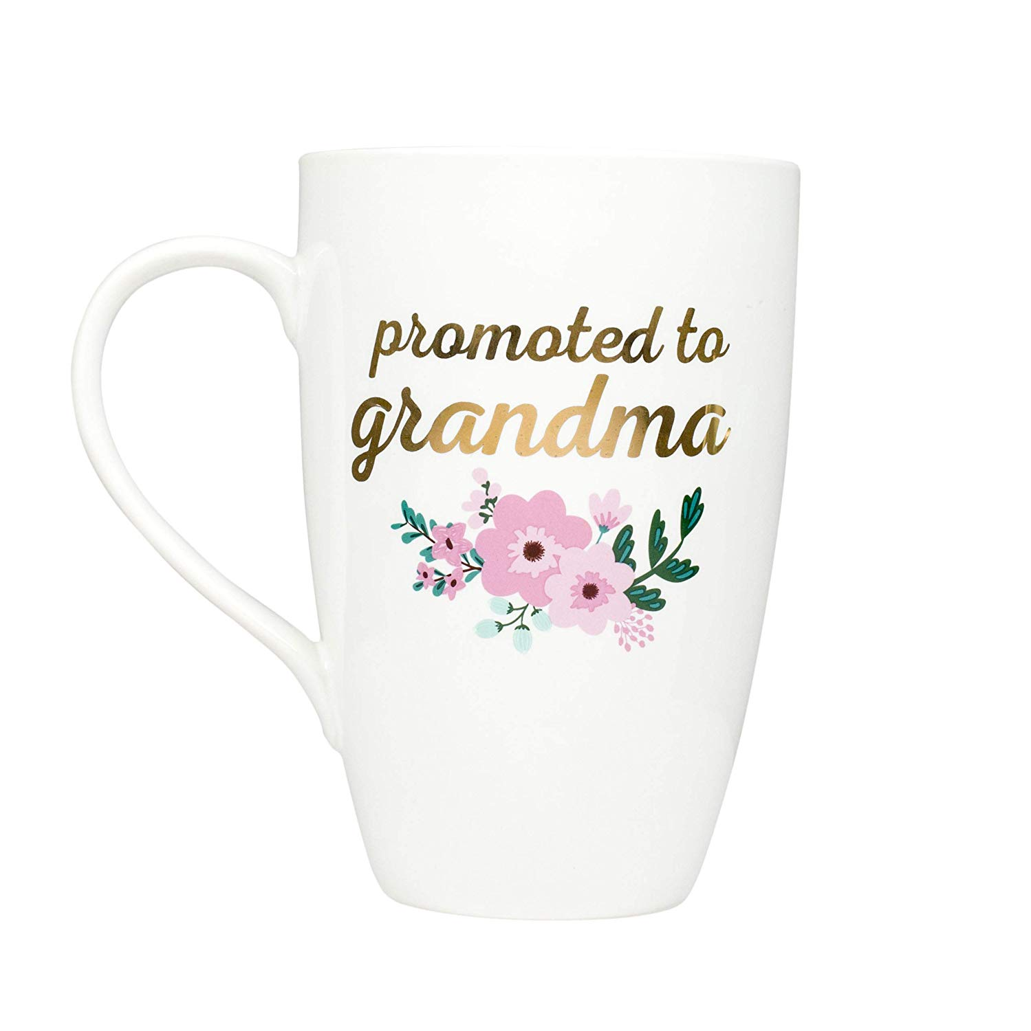 Oblong coffee mug reading in gold text: promoted to grandma with green and pink flowers