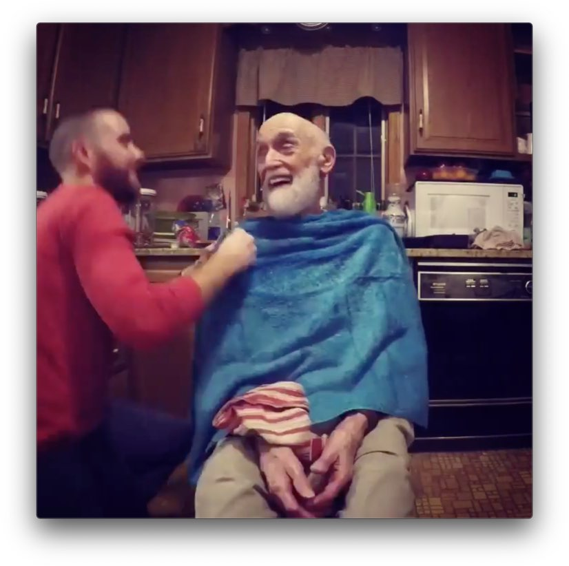 Me trimming Grandpa Cook's beard