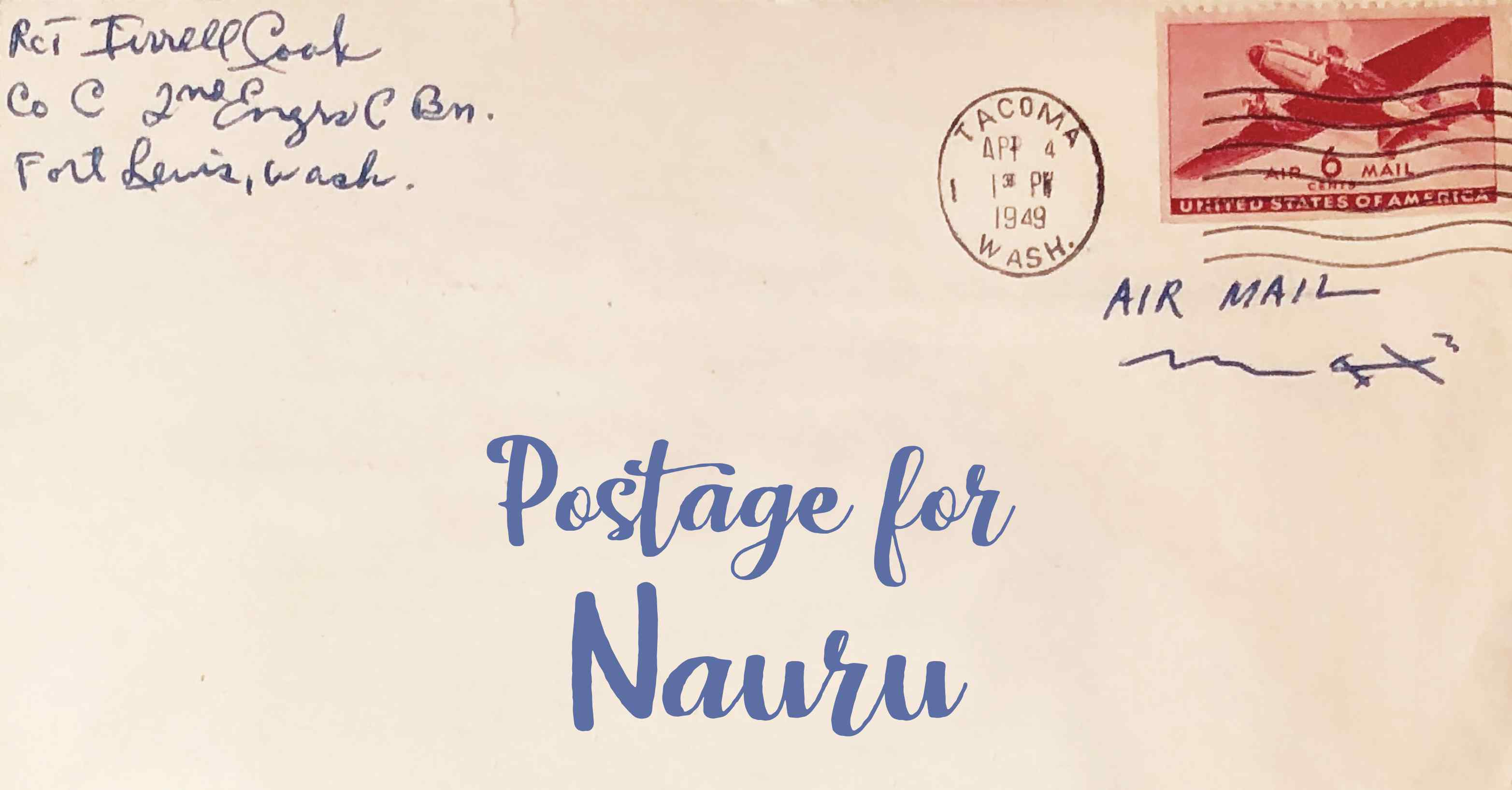 Photo of an old envelope reading 'Postage for $country_name'
