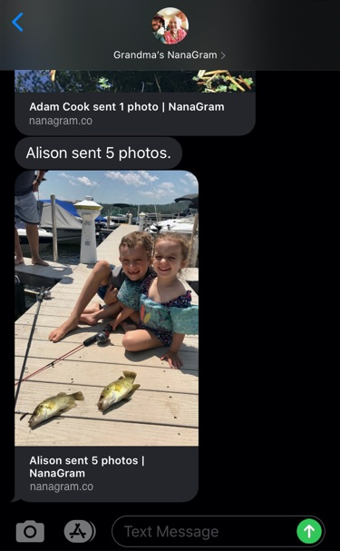 iPhone screen shot showing an assigned contact, 'Grandmas NanaGram' with another photo of the same two kids who caught two big fish sitting on the dock and smiling.