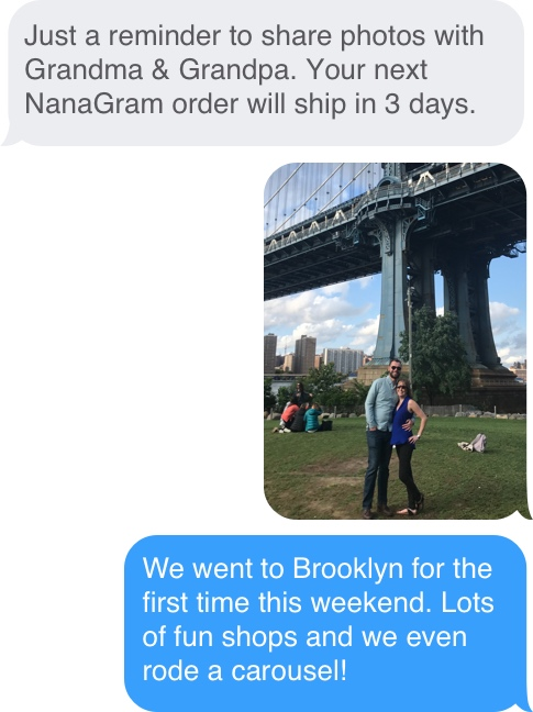 Screen grab of text message reminders from NanaGram